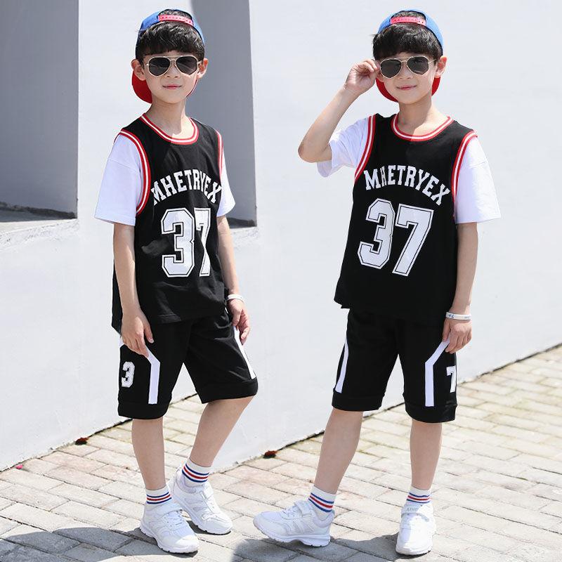 男童T恤套装夏装2020新款儿童装两件套洋气中大童休闲短袖韩版潮