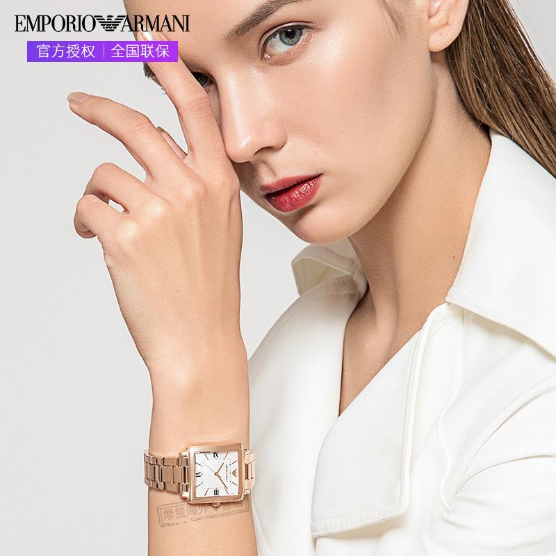 Armani阿玛尼正品手表女玫瑰金方形时尚女表AR11177