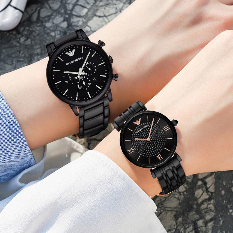 Armani阿玛尼情侣手表时尚休闲男女对表送女友礼物黑色钢带石英表
