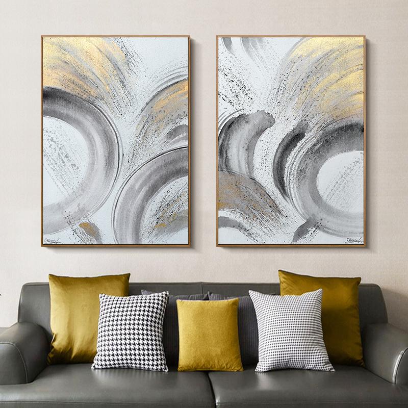 藝碩油畫手繪輕奢裝飾畫金箔玄關掛畫走廊簡約現代雙聯墻壁原創畫