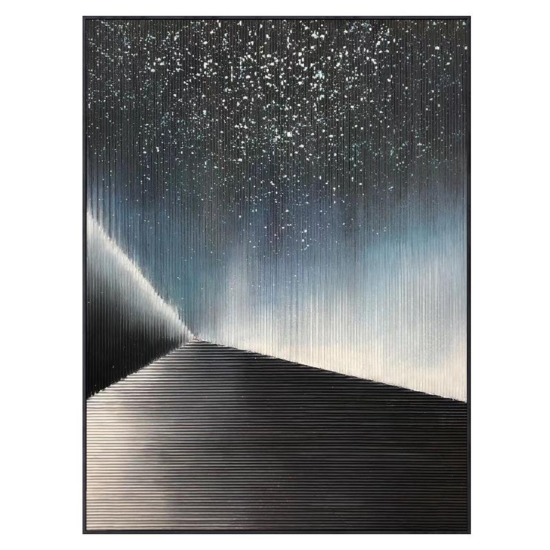 原創手繪油畫《北極星光》意式極簡輕奢黑白灰客廳玄關抽象裝飾畫