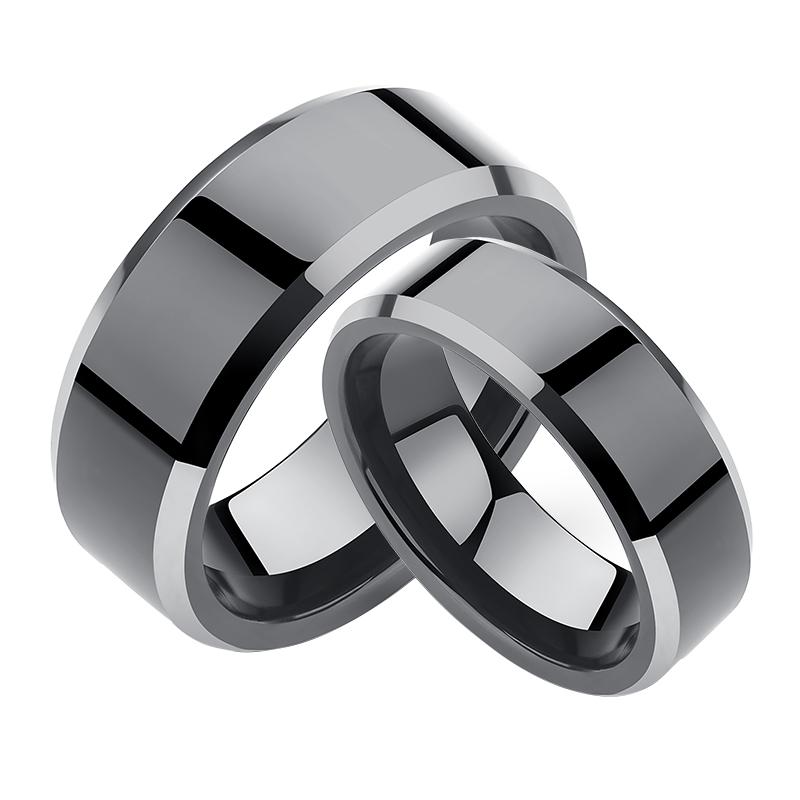 个姓简约情侣戒指食指指环女士网红单身戒刻字尾戒黑色 戒指男潮