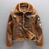 Air Force pilot leather men plus velvet thick lamb's wool machine wagon jacket male Tide brand winter fur coat