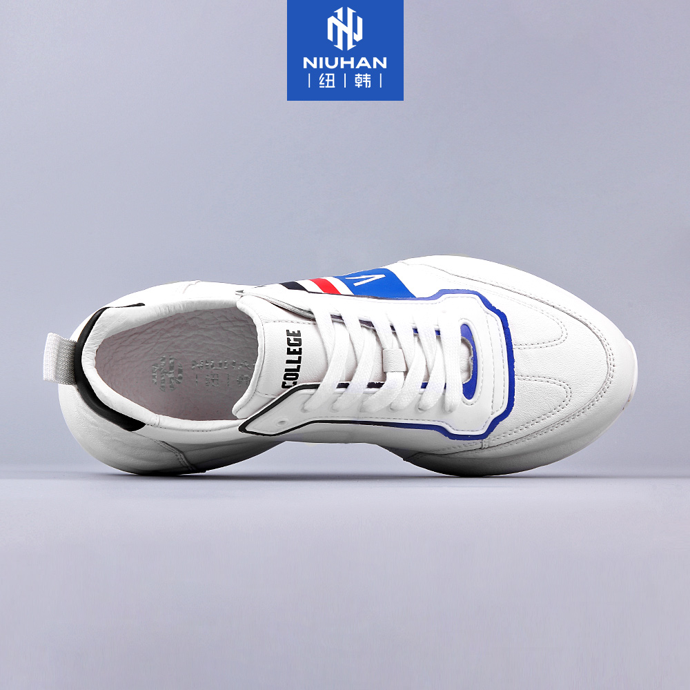 纽韩2020春季新款真皮包底男鞋板鞋老爹鞋拼色潮鞋运动休闲小白鞋