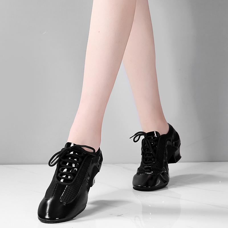 紫米雪拉丁舞鞋女成年春夏透气中高跟软底交谊水兵舞广场舞蹈鞋男