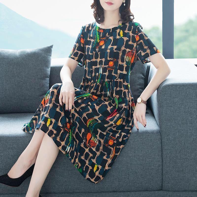 气质连衣裙2020大妈女装中年短袖圆领气质宽松显瘦裙子W6