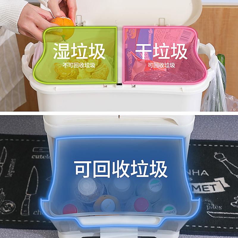 日式厨房专用拉圾分类垃圾桶家用双层干湿分离带盖一体家庭厨余桶【图4】