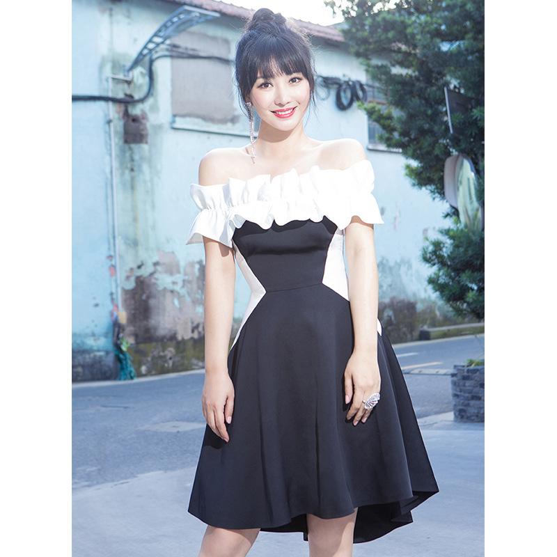 柳岩娄艺潇连衣裙2020夏同款黑白撞色一字领修身短裙礼服A字裙潮