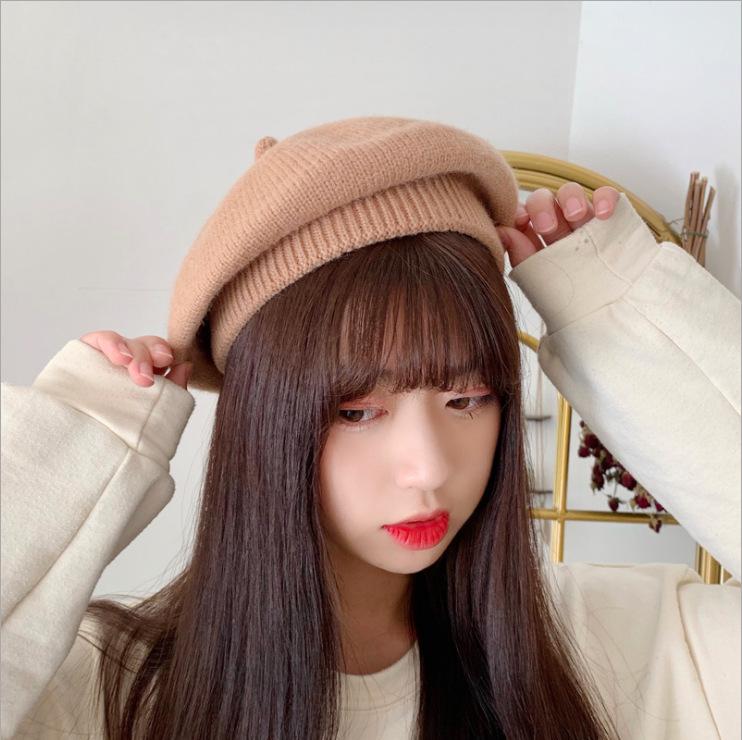 秋季新款安格拉贝雷帽韩版针织八角帽女生配饰秋冬针织保暖帽