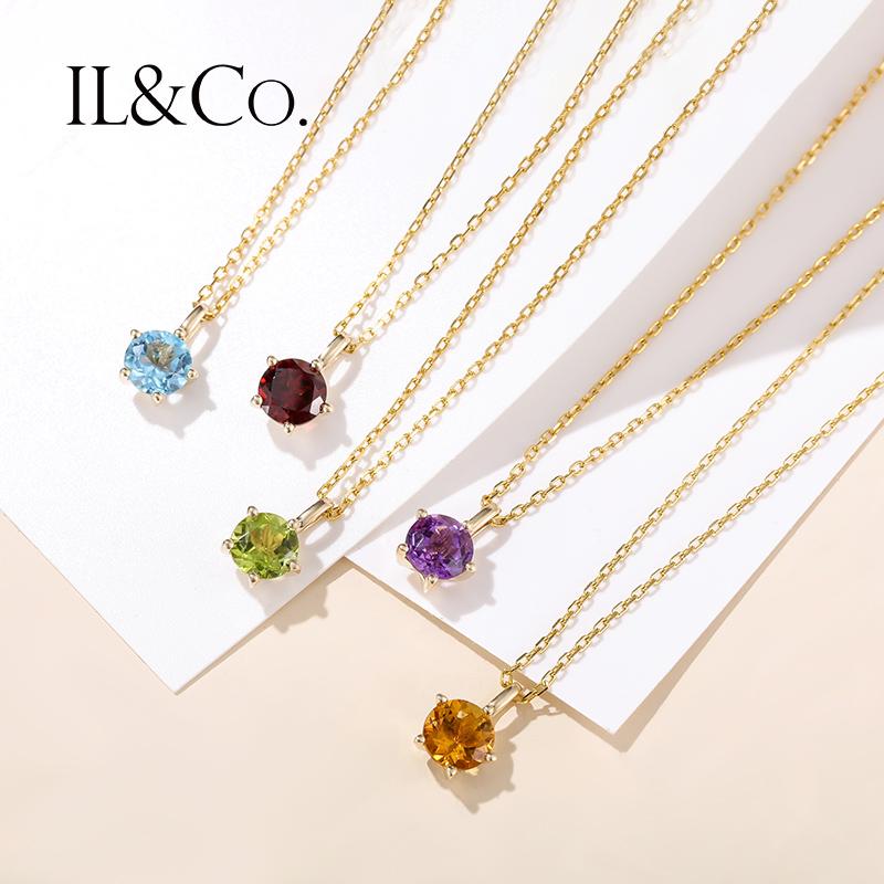 生辰石吊坠女石榴石橄榄石紫晶托帕石黄晶彩色宝石项链 9k 珠宝 ILCO