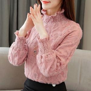 加绒新款女装秋冬蕾丝打底洋气小衫
