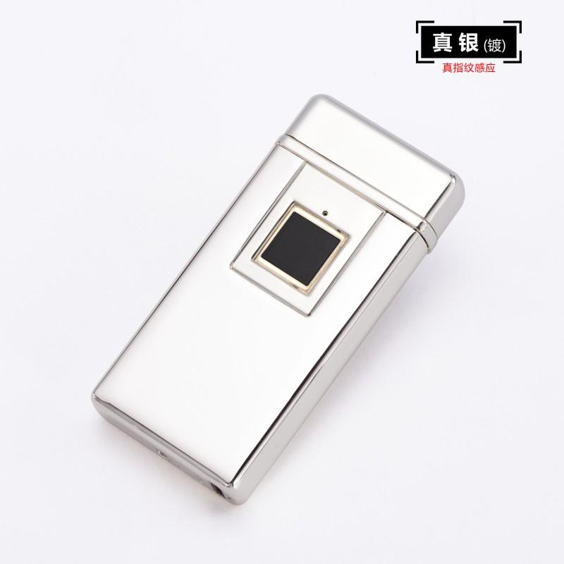 抖音防风 指纹充电打火机刻字高档双电弧送男友触摸电子点烟器  usb