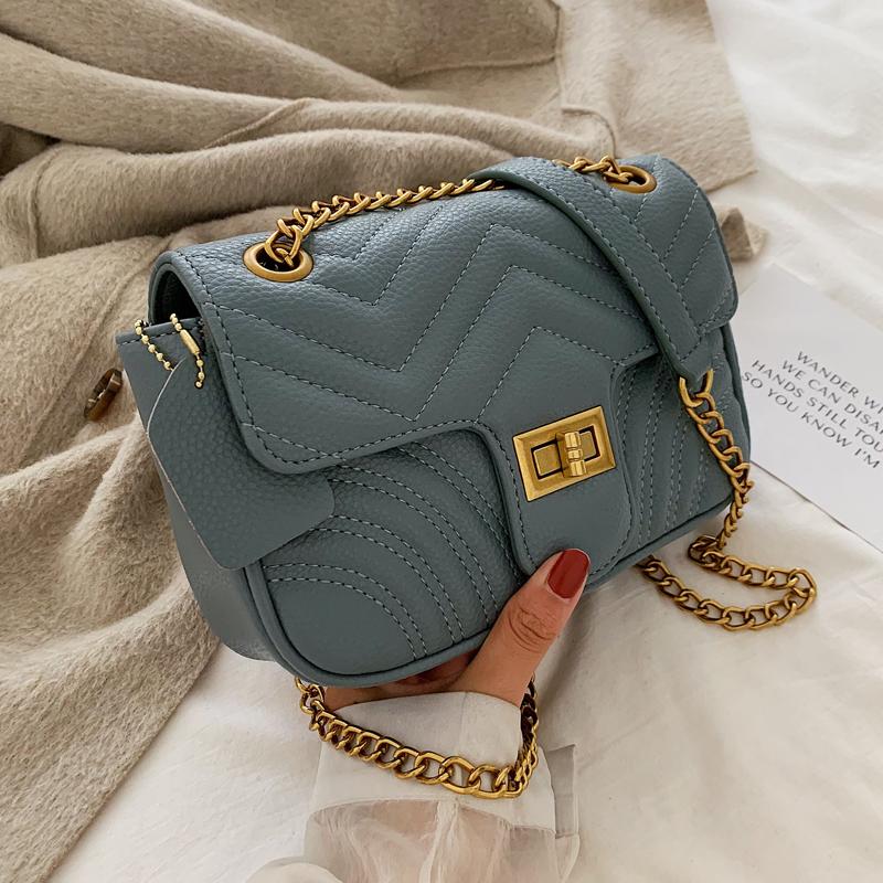 流行的包包女2019新款潮韩版百搭斜挎小包高级洋气时尚链条小方包