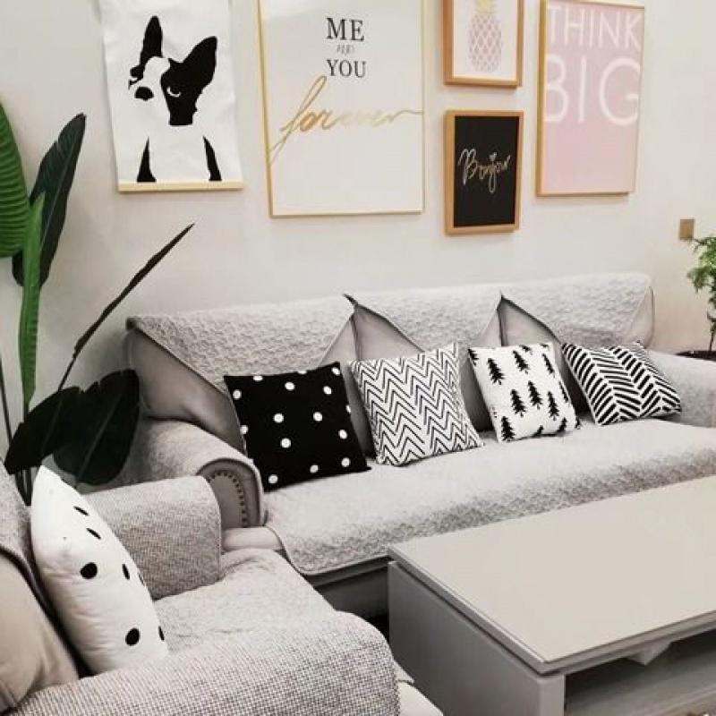 北欧性冷淡风黑白靠垫 样板间抱枕床头枕 极简沙发靠垫办公室枕