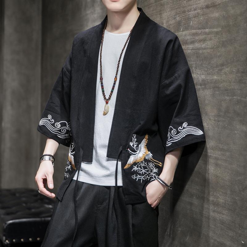 中国风男装刺绣汉服男士宽松休闲复古风开衫外套秋季短袖披风潮流