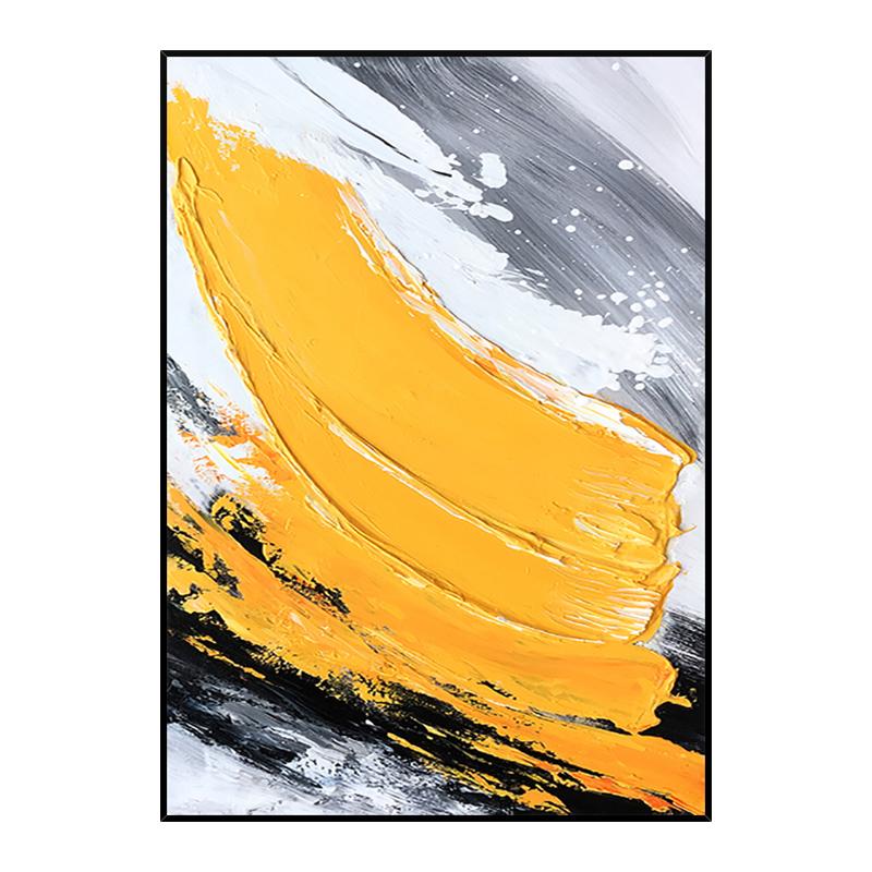 手绘油画 现代简约抽象肌理艺术装饰画 玄黄 玄关过道挂画 竖版
