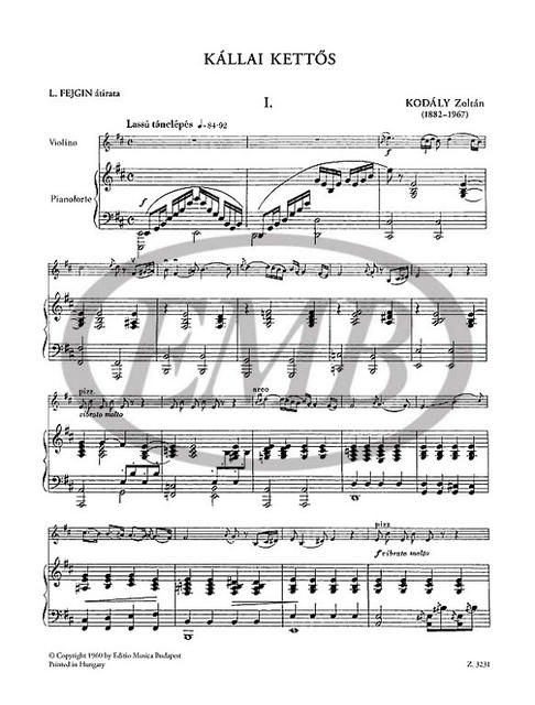 violin /& piano Kodaly The Zoltan Violin and piano Kallo Double-Dance
