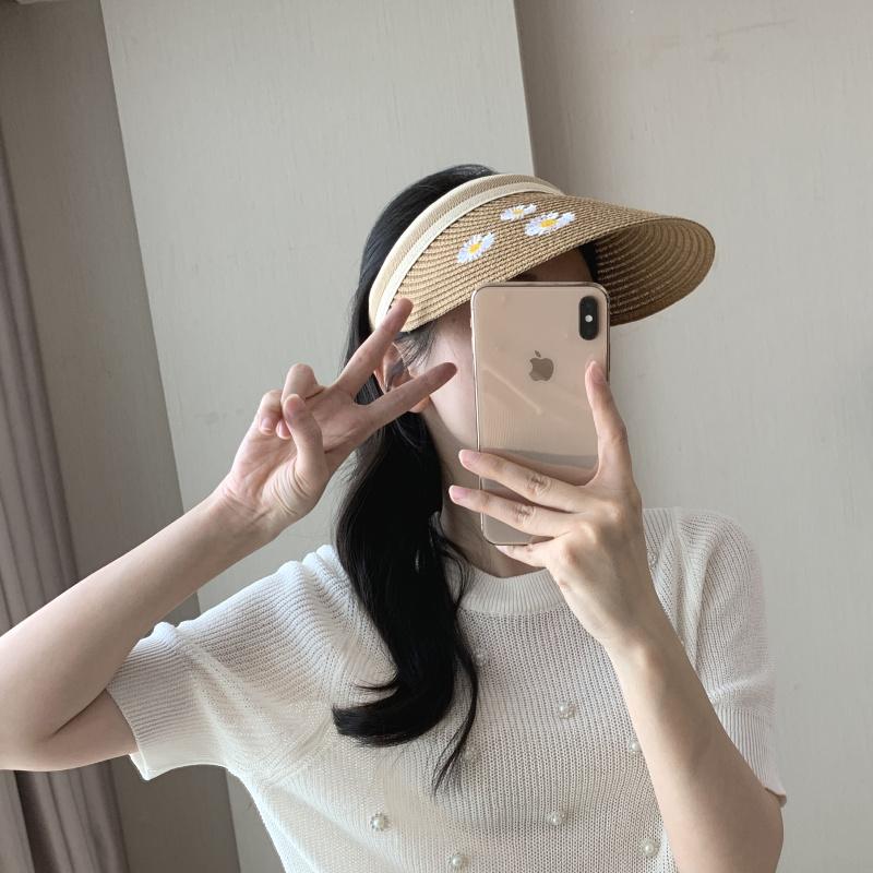 帽子女夏天雪梨同款空顶草帽遮阳帽户外露顶鸭舌帽沙滩太阳帽【图3】