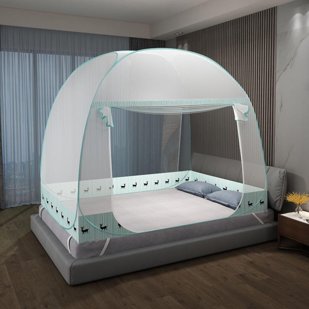 蚊帐蒙古包免安装家用1.5米双人床1.8m宿舍单人0.9M有底拉链蚊帐