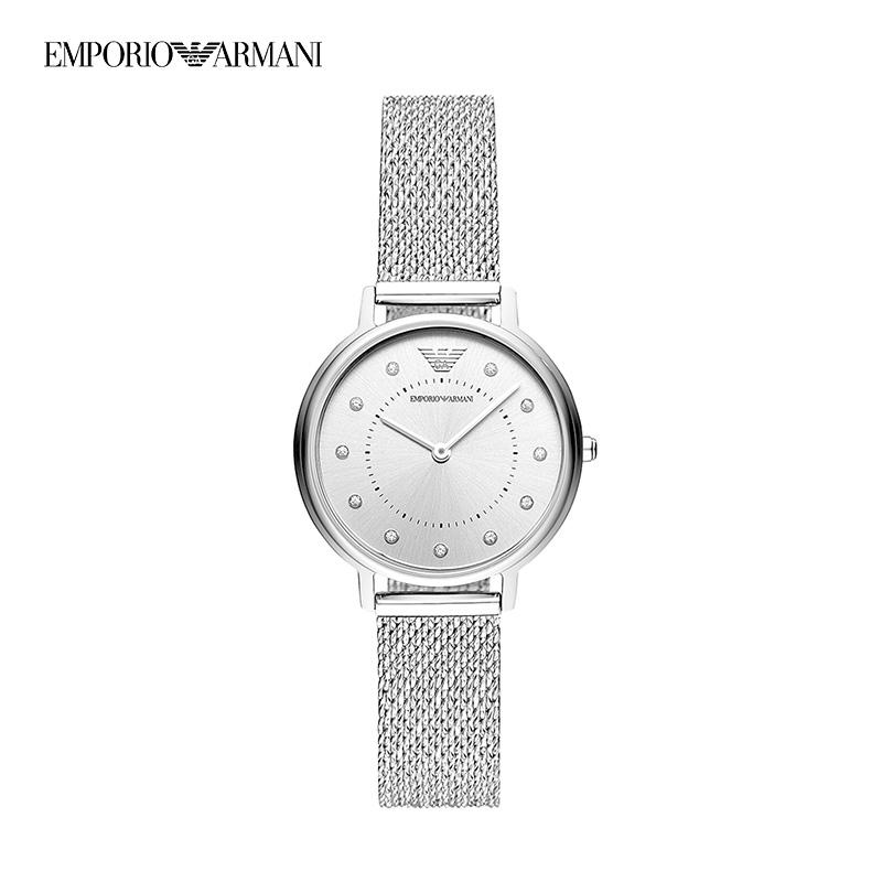 阿玛尼满天星手表女  玫瑰金正品编织钢带潮镶钻女士手表 AR11129