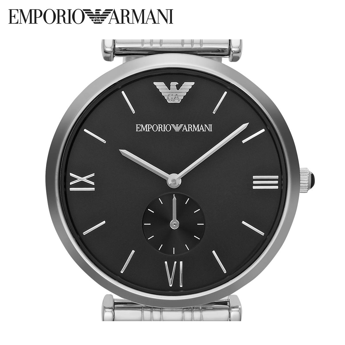 Armani阿玛尼不锈钢男款女款手表 银色时尚大表盘石英腕表AR1676