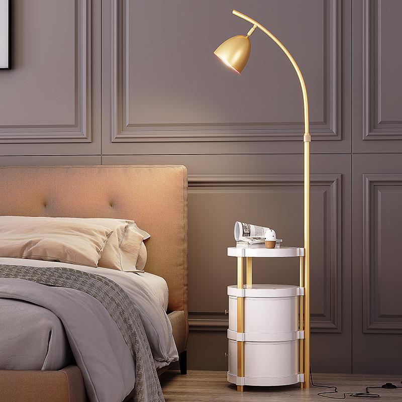 风卧室床头柜轻奢双层抽屉茶几落地灯 ins 北欧客厅沙发边立式台灯