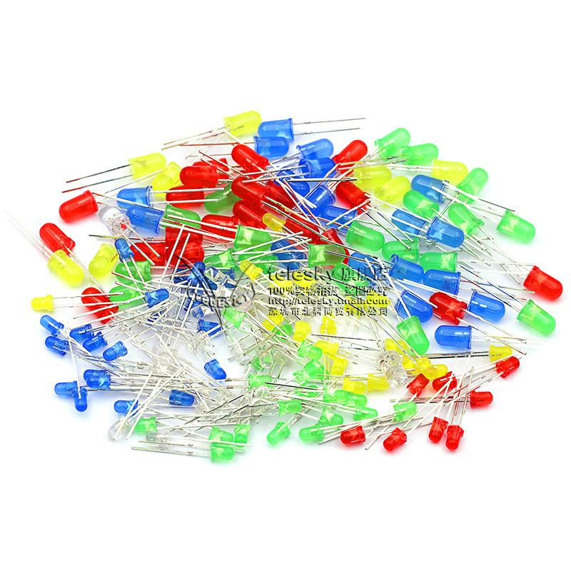 3mm 5mmLED灯泡发光二极管F3 F5红绿黄蓝白色直插灯珠元件包多种