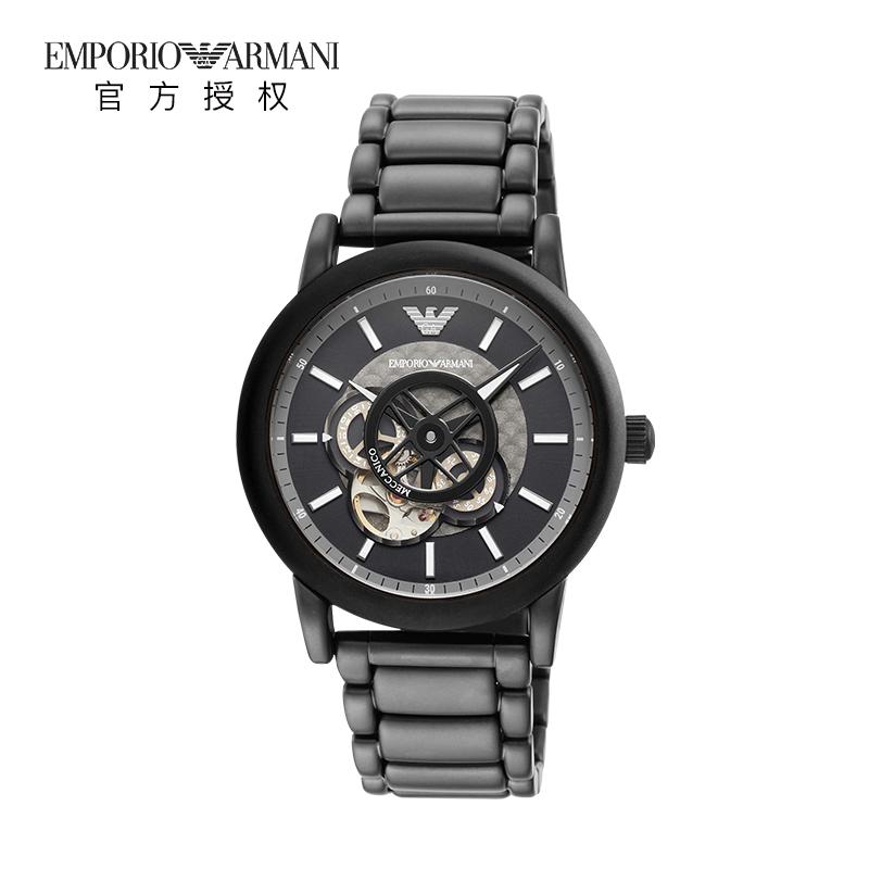 Armani阿玛尼正品手表男复古时尚潮流黑色钢带机械表AR60010