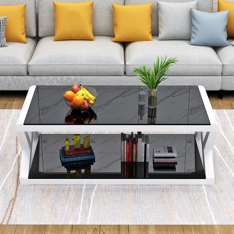 圆角茶几桌客厅钢化玻璃面家用简约现代小户型花几简易茶几办公桌主图