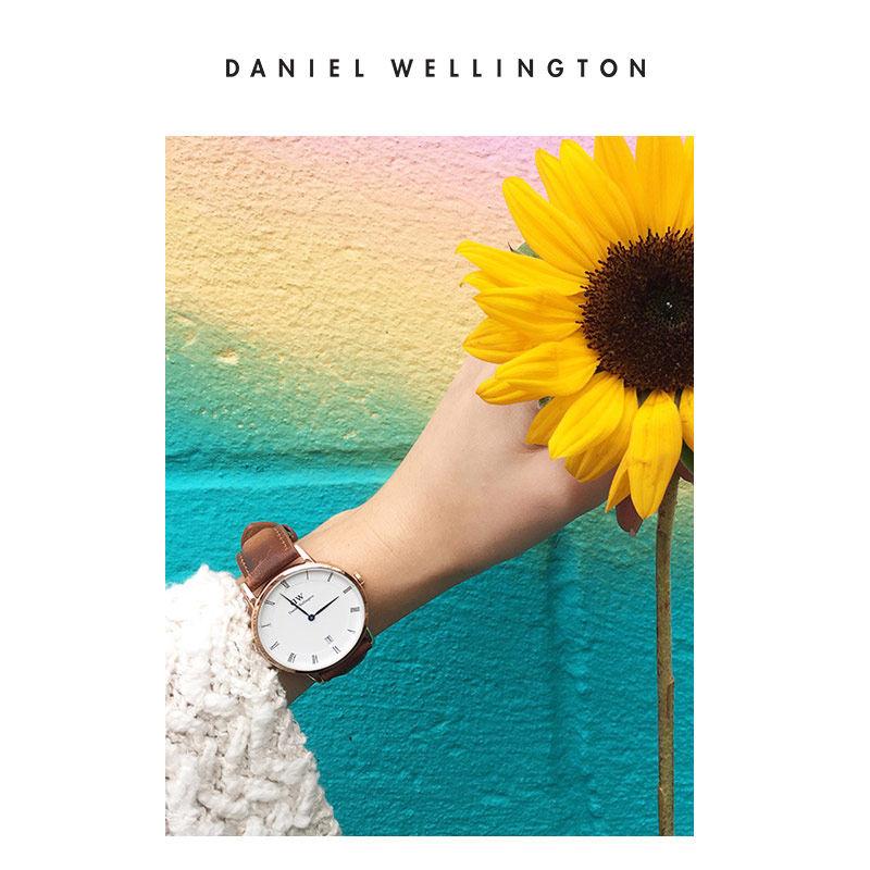女款蓝针皮带女表 34mm 手表女简约气质 dw 丹尼尔惠灵顿官方 秒杀