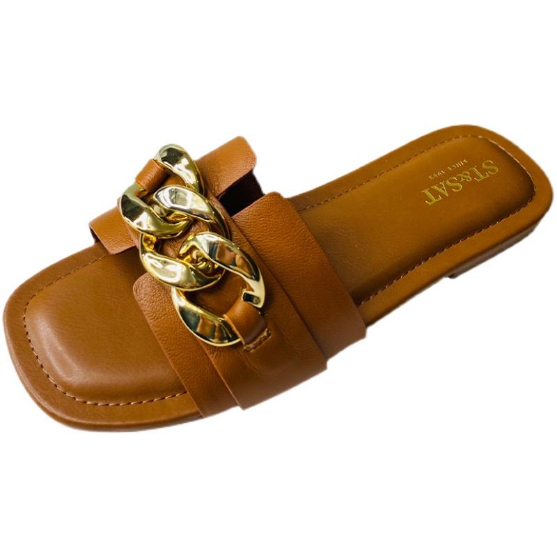 年夏季平底一字拖凉鞋外穿时尚百搭金属扣防滑女拖鞋 2021 星期六