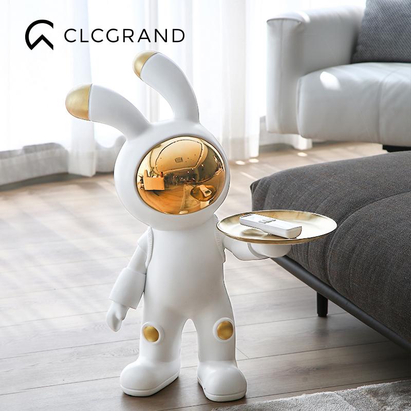 太空兔大型落地擺件家居客廳電視柜收納托盤軟裝飾品喬遷禮物創意