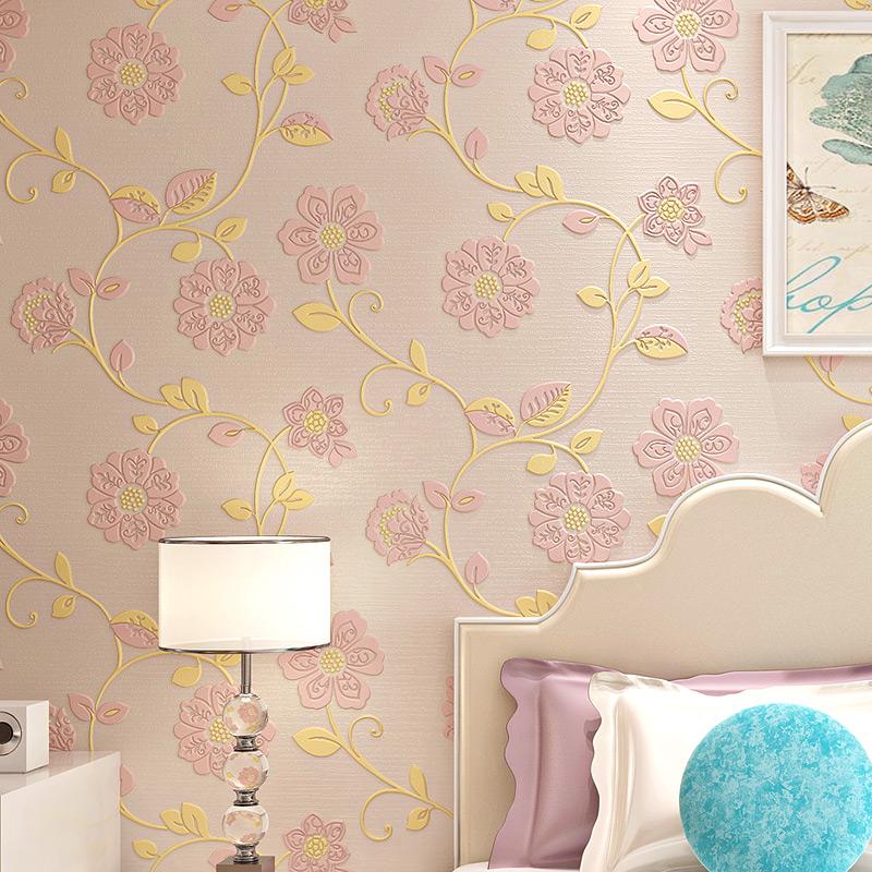 卧室温馨墙纸 3d立体少女心粉色儿童房卡通小熊无纺布家用壁纸