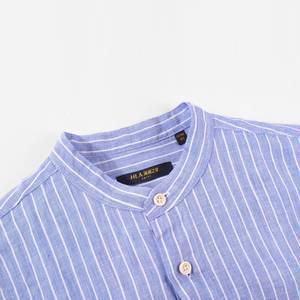 HLA/海澜之家条纹亚麻长袖休闲衬衫男装时尚立领衬衣男