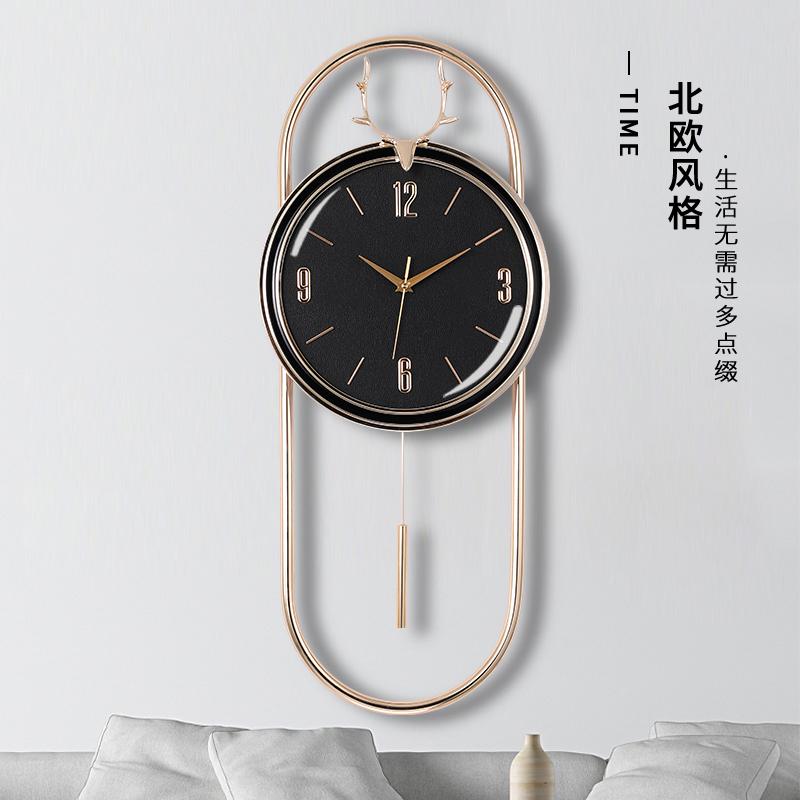 北欧鹿头家用客厅挂钟现代简约静音挂墙时钟轻奢石英钟电子钟