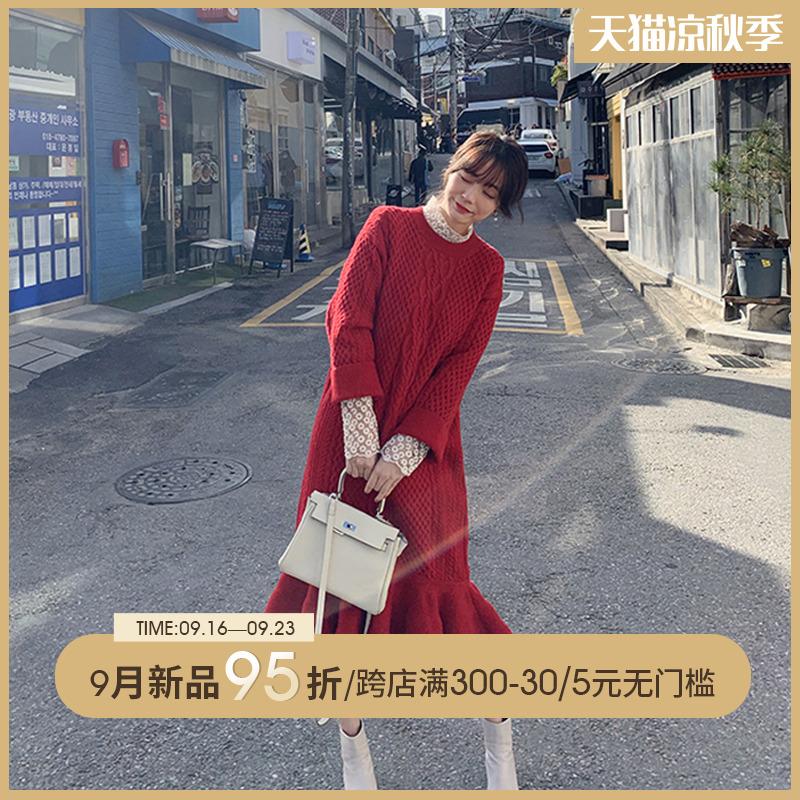 媛鱼尾连衣裙子初秋季