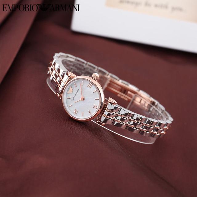 Armani阿玛尼手表女小众轻奢时尚钢带小表盘石英女士手表AR1764