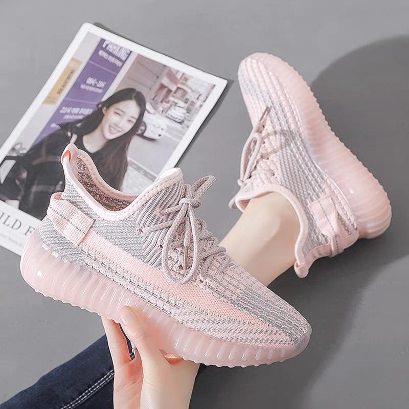 2021春季新款椰子鞋休闲运动女鞋透气网面飞织鞋果冻底跑鞋琦琦