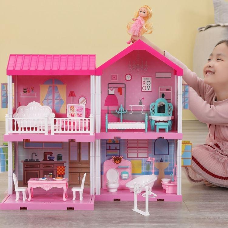 过家家玩具别墅房女孩仿真公主城堡套装芭比娃娃屋模型别墅房子