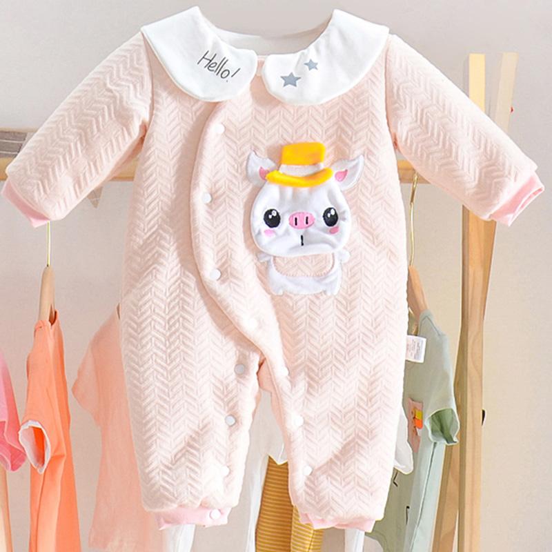 新生儿婴儿夹棉连体衣服纯棉春秋套装加薄棉宝宝保暖哈衣睡衣冬季