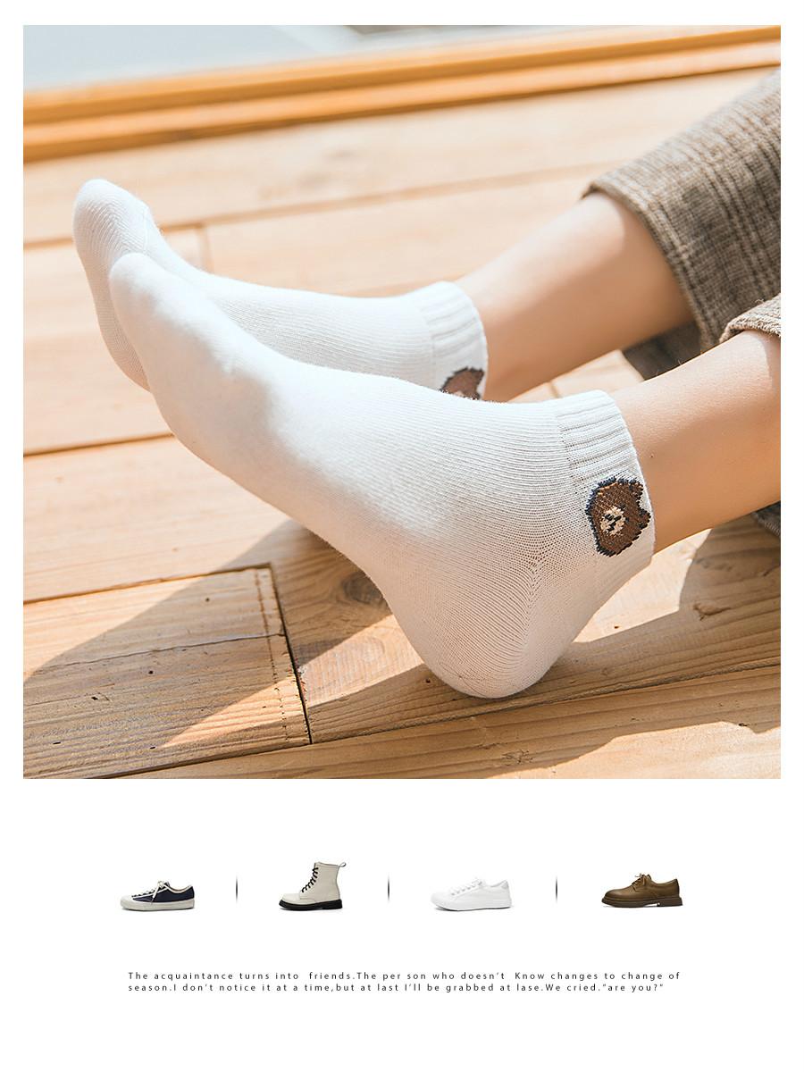 10双 袜子女短袜浅口夏天薄款女士短筒可爱日系潮小熊船袜女