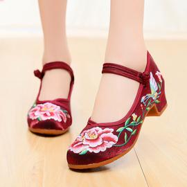 老北京布鞋女春夏中跟民族风女鞋复古坡跟绣花鞋中国风汉服舞蹈鞋