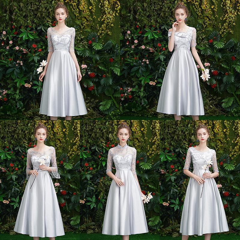 伴娘服2019新款春夏季灰色韩版显瘦仙气质姐妹团礼服中长款姐妹裙
