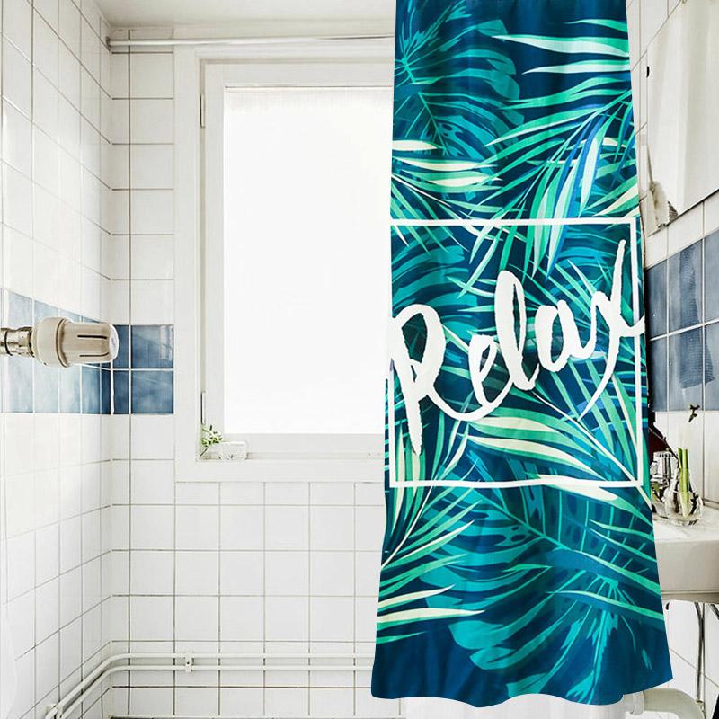 小清新植物浴帘 卫生间厕所防水防霉隔断淋浴挂帘 布浴帘套装帘子