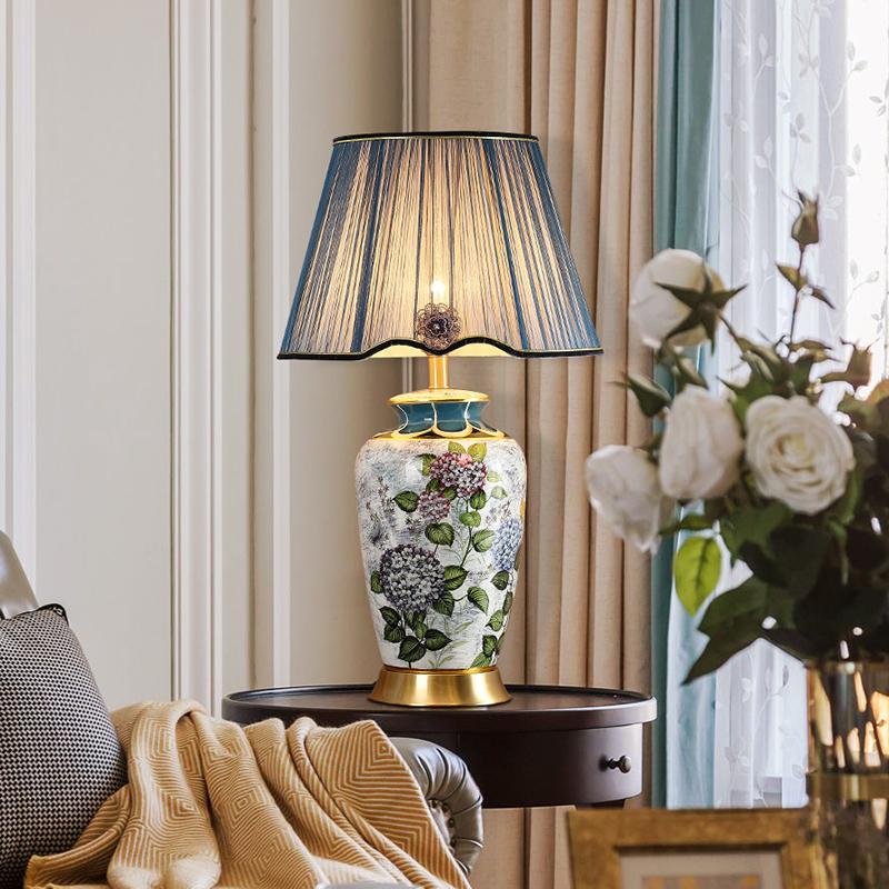 传韵美式客厅高档陶瓷台灯沙发角几台灯别墅奢华卧室床头灯台灯
