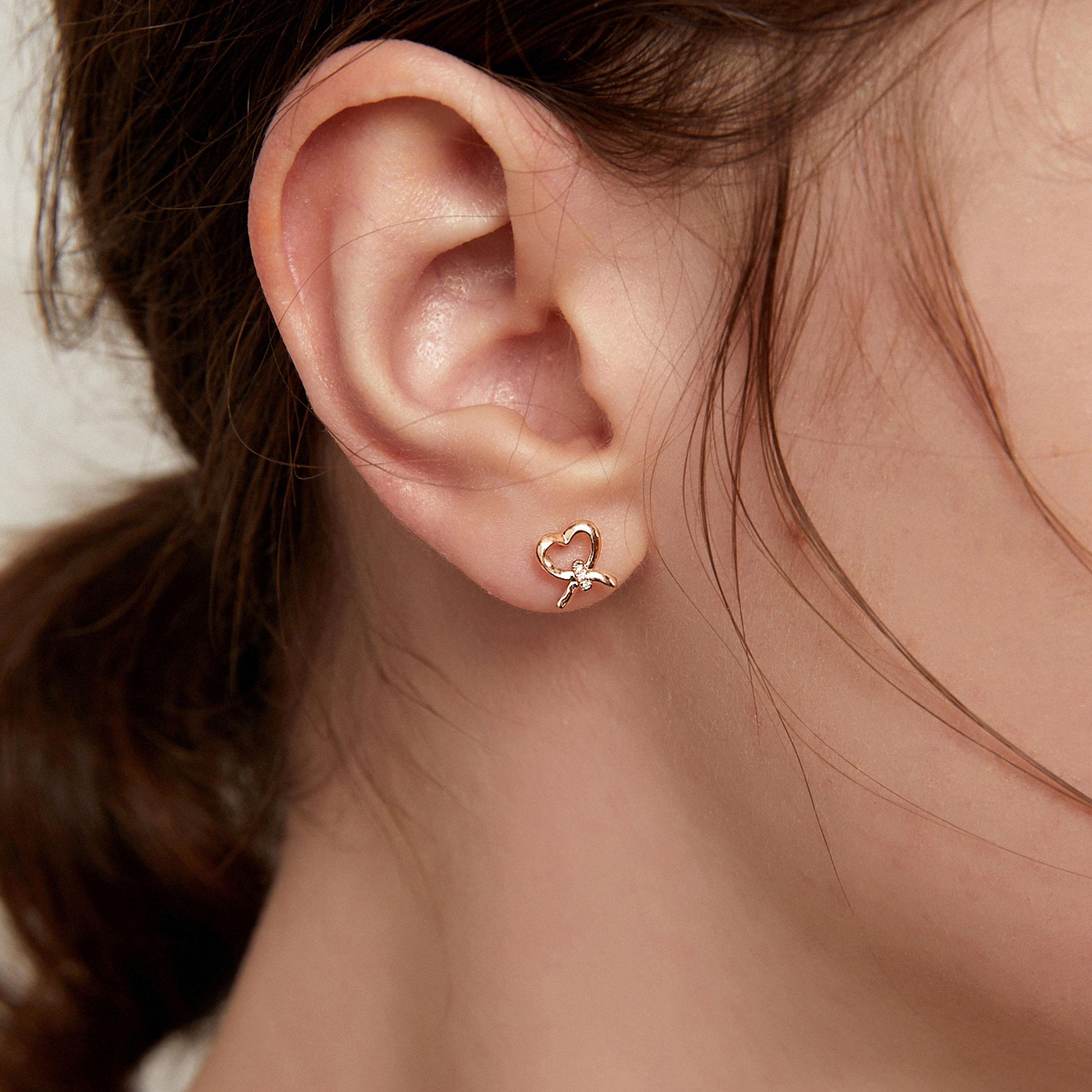 耳钉 金女爱心镶钻彩金养耳洞小巧高级感气质防过敏玫瑰金耳饰  18k
