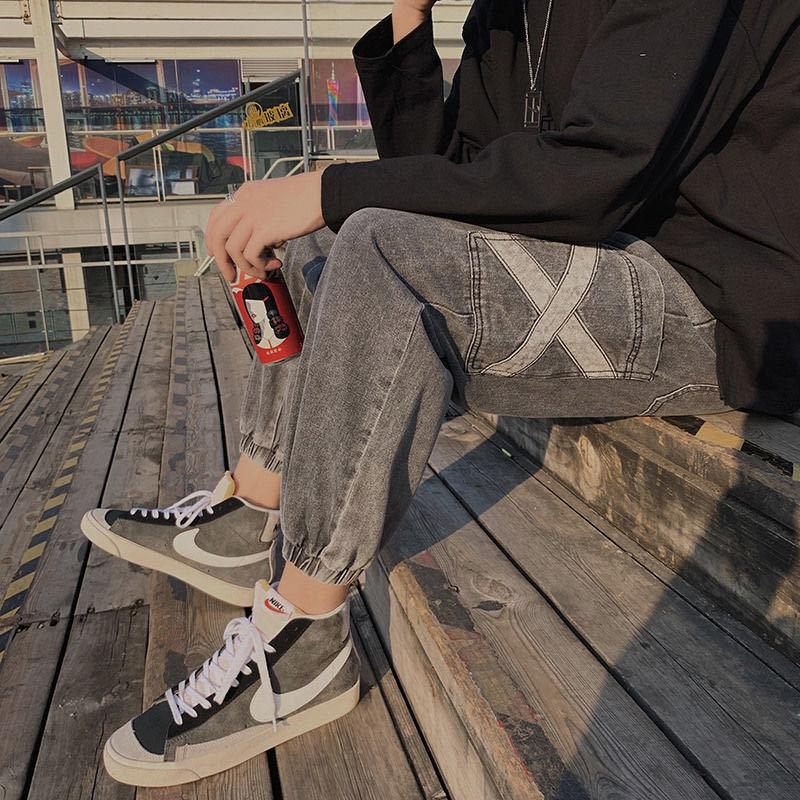 束脚牛仔裤男韩版复古宽松束脚哈伦裤潮流秋