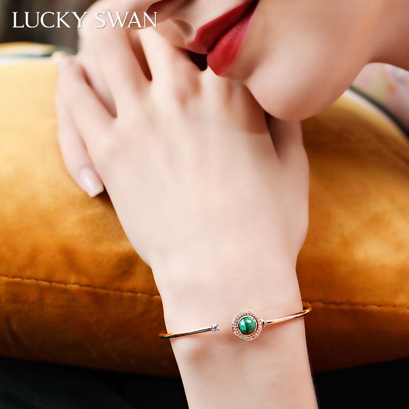 绿色星球手镯女纯银轻奢小众高级感精致生日礼物送女友 SWAN LUCKY