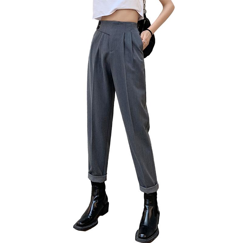 实拍西装裤子女春夏2021年新款显瘦百搭高腰工装裤烟管裤哈伦裤潮