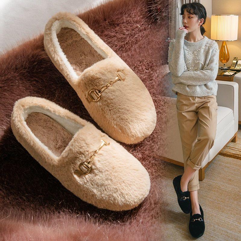 毛毛鞋加绒软底厚底豆豆鞋女百搭棉鞋